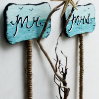 One of a Kind Beach Wedding Driftwood Cake Topper Pick Set , Hand Painted Reception Decoration