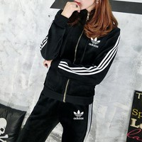 """Adidas"" Women Casual Fashion Stripe Thickened Velvet Zip Cardigan Long Sleeve Hooded Sweater Trousers Set Two-Piece Sportswear"