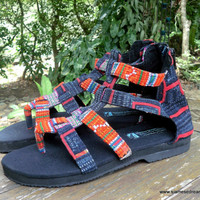Boho Gladiator Womens Sandals In Tangerine Hmong Embroidery And Indigo Batik Vegan Summer Shoes Isadora