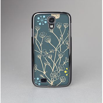 The Slate Blue and Coral Floral Sketched Lace Patterns v21 Skin-Sert Case for the Samsung Galaxy S4