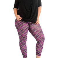 Women's Plus Size Violet Patch Plaid Leggings