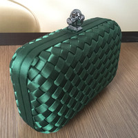Ladies luxury stars 100% new handmade Lady's knitted Knot Clutch Evening Bag Fashion Women Formal Evening Cluthes Free Shipping
