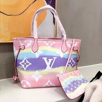 Hipgirls Louis Vuitton LV Hot Sale New Women's Gradient Print Two-Piece Handbag Shoulder Bag