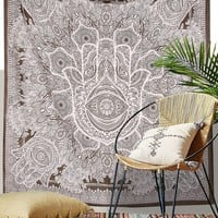"""Exclusive Hamsa Hand Branded Tapestry For Goodluck By """"The Boho Street"""", Indian Mandala Wall Art, Hippie Wall Hanging, Bohemian Bedspread"""