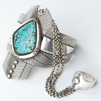 Spell & the Gypsy Collective Thunderstruck Turquoise Cuff Bracelet Ring Silver