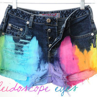 Vintage Silver Jeans Mid Rise RAINBOW OMBRE Dyed Denim Cut Off Shorts S