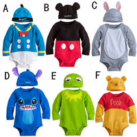 New Baby Boys Girls Disney Animal Costume Bodysuit Outfit Romper Clothes Hat Set