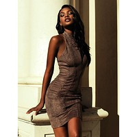 Richere Taupe Suedette Halter Dress