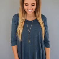 Mountain Peak Knit Top Teal