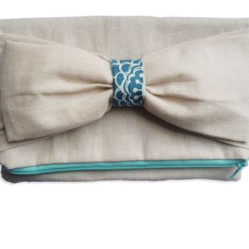 Double Bow Linen Clutch