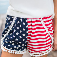 Star Spangled Shorts, Navy-Red