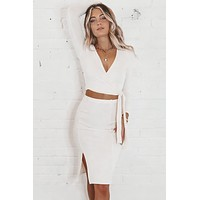 Getting Knit Done Ivory Midi Skirt Set
