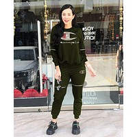 Champion Newest Popular Women Casual Diamond Logo Zipper Top Pants Set Two-Piece Sportswear Army Green