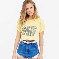 Yellow Cactus Print Cropped Tee