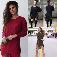 Hollow Out Round-neck Sweater Casual Tops Women's Fashion Needles [9168432580]