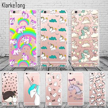 Cell Phone Cases for Iphone 6 plus new arrival cute Unicorn Case Cover for iphone6 6s 5 5s se 7 soft silicone coque fundas