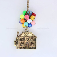 Flying house ,flying dream necklace, bead work necklace, up movie imagine, colorful balloons necklace