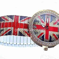 Antique (Look) British Flag, Gold and Crystal Stretch Watch (Red, White, Blue)