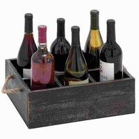 "Benzara 5""H Wood Wine Tray Crafted with Six Storage Compartments"