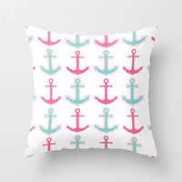 Nautical Anchor Pattern Aqua Blue and Pink Throw Pillow by Cute to Boot