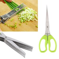 DCCKJG2 Multi-functional Stainless Steel Kitchen Knives 5 Layers Scissors Sushi Shredded Scallion Cut Herb Spices Scissors Cooking Tools