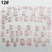 3D Nail Stickers Embossed Pink Flowers Design Nail Art Decal Tips Stickers Sheet Manicure