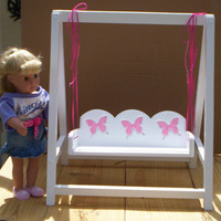 doll swing doll furniture Handcrafted for American Girl 18 inch doll white with pink butterflies