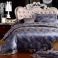 Princess  4 Piece Luxury Bedding Comforter Duvet Cover Set  - Royal Blue