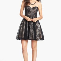 Sean Collection Embellished Lace Strapless Fit & Flare Dress