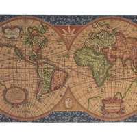Old Map of the World Blue