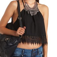 Lace-Trimmed High-Low Halter Crop Top by Charlotte Russe