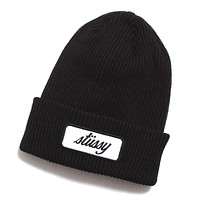 Patch Cuff Beanie Black