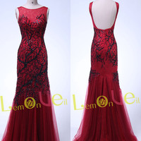 bloody red lace formal occasion women evening dress,backless red lace prom dress,elegant mermaid lace prom dresses,wedding ball gown dress