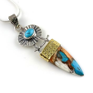 Spiny Oyster Turquoise & Blue Turquoise Sterling Silver Two Tone Pendant