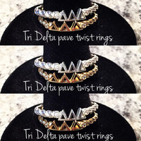 Delta Delta Delta Silver Pavé Twist Letter Ring, available in any sorority, other metals