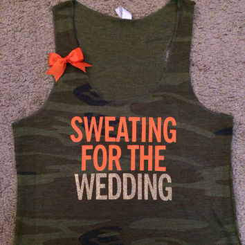 Sweating for The Wedding - Camo - Wedding Tank - Bride - Ruffles with Love - Womens Fitness
