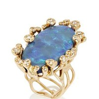 One of a Kind Black Opal Parrucchino Ring