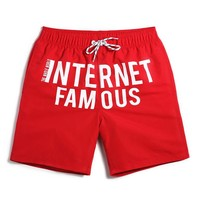 Internet Famous Men's Red Casual Quick Dry Beach Board Shorts