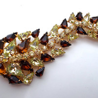 Rhinestone Root Beer & Yellow Floral Brooch, Gold Plated, 3.75 Inches, Vintage