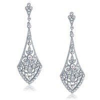 Bling Jewelry Leaves Crystal Bridal Chandelier Earrings Rhodium Plated