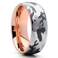 Rose Gold Tungsten - Camouflage Ring - Tungsten Wedding Band - Camo Ring