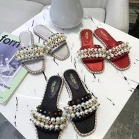 """""""Miumiu"""" classic spring and summer new pearl slippers"""