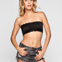 Padded Lace Bandeau Black  In Sizes