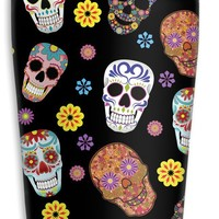 Mugzie Sugar Skull Toss Travel Mug with Insulated Wetsuit Cover, 16 oz, Black