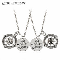 "QIHE JEWELRY 2pcs set Hand Stamped ""No Matter Where"" Compass Necklaces Best Friends Long Distance Relationship Necklace"