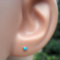 Turquoise Nose Ring/Tragus/Cartilage Earring 14K Rose Gold Filled Handcrafted Set With A 2mm Stone