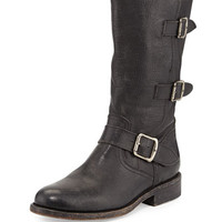 Frye Jayden Leather Moto Boot, Black