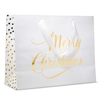 """Sugar Paper """"Merry Christmas"""" White Vogue with Gold Dots Gift Bag"""