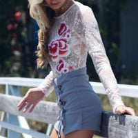 All Intertwined Gray Lace Up Skort