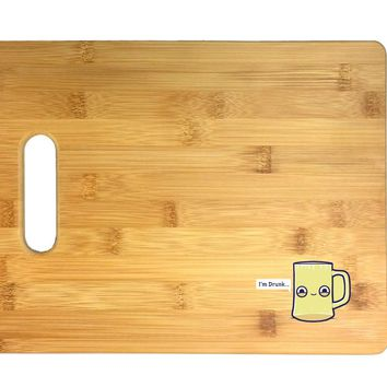 Randy Otter Drunk Empty Cup Pun Humor 3D COLOR Printed Bamboo Cutting Board - Wedding, Housewarming, Anniversary, Birthday, Mother's Day, Gift